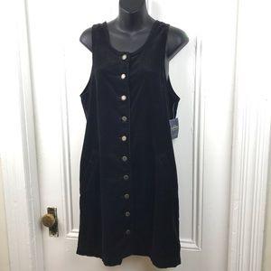 NWT Kohl's black tank corduroy button snap dress